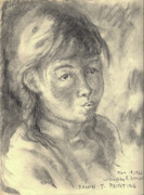Wyoming Drawings - Dawn Painting at Seven Years Old by Willoughby Senior