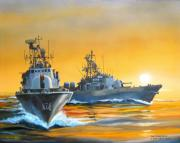 Navy Paintings - Dawn Run by Tim Johnson