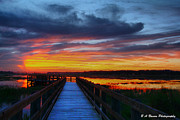 Pasco County Prints - Dawn skies at the fishing pier Print by Barbara Bowen