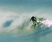 California Big Wave Surf Prints - Dawn Surfer Print by David Rearwin