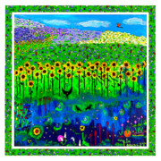 Lightning Bug Posters - Day and Night in a Sunflower Field with Floral Border Poster by Angela Annas