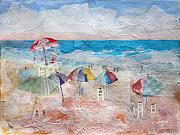 Umbrella Mixed Media Prints - Day At The Beach Print by Arline Wagner