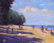 Beige Paintings - Day at the Beach by Michael Camp