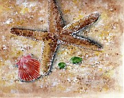 Sea Shells Painting Posters - Day at the Beach Poster by Sheryl Heatherly Hawkins