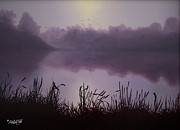 Wildlife Landscape Drawings - Day Break by Tim Dangaran