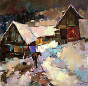 Winter Landscape Painting Originals - Day by day by Anastasija Kraineva