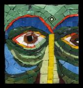 Mosaic Glass Art Posters - Day Dreamer - Fantasy Face No. 8 Poster by Gila Rayberg