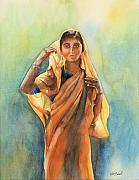 Indian Woman Prints - Day Dreaming Print by Kate Bedell