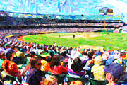 Baseball Stadiums Digital Art Prints - Day Game At The Old Ballpark Print by Wingsdomain Art and Photography