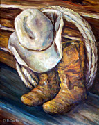 Ranchers Paintings - Day is Done by Deborah Smith