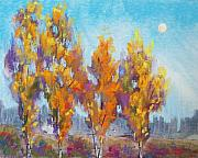 Autumn Trees Pastels Prints - Day Lit Moon Print by Christine Kane