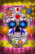 Grin Posters - Day of the Dead - Death Mask Poster by Mike Savad