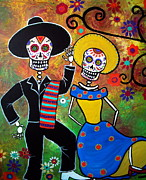 Mexican Dancing Posters - Day Of The Dead Bailar Poster by Pristine Cartera Turkus