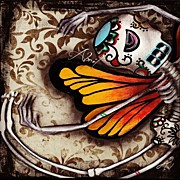Iphone4 Posters - Day Of The Dead Butterfly By Poster by  Abril Andrade Griffith