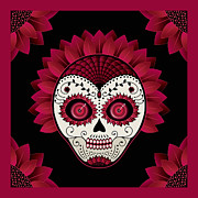 Sugar Skulls Digital Art - Day of the Dead Christmas Flower Sugar Skull by Maryska Torresowa