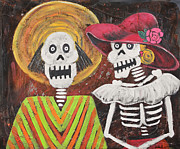 Independence Day Mixed Media Framed Prints - Day of the Dead Couple Framed Print by Sonia Flores Ruiz