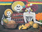 Independence Mixed Media Metal Prints - Day of the Dead Family Metal Print by Sonia Flores Ruiz