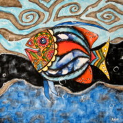 Folk Art Photos - Day of The Dead Fish by Rain Ririn