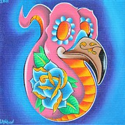 Yellow Beak Painting Metal Prints - Day of the Dead Flamingo Metal Print by Landon Clary