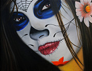 Make-up Girl Framed Prints - Day of the Dead Girl Framed Print by Alex Rios