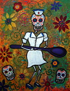 Skull Paintings - Day Of The Dead Nurse by Pristine Cartera Turkus