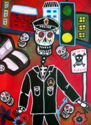 Police Paintings - Day Of The Dead Policeman by Pristine Cartera Turkus