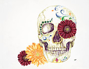 Gerbera Drawings - Day of the Dead by Sarah Zilbershteyn