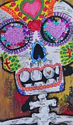 Sequins Mixed Media Prints - Day of the Dead Skeleton  Print by Nancy Mitchell