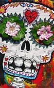 Lightening Mixed Media Prints - Day of the Dead Skeleton with Flowers and Stars Print by Nancy Mitchell