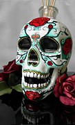 Day Glass Art - Day of the dead skull by Eileen Switzer