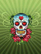 Vertical Digital Art - Day Of The Dead Skull by New Vision Technologies Inc