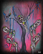 Sugar Skull Posters - Day of the Dead Tree Poster by  Abril Andrade Griffith