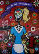 Guitar Painting Originals - Day Of The Dead Waitress by Pristine Cartera Turkus
