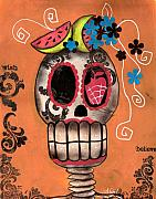 Day Of The Dead Skeleton Prints - Day of the Dead Watermelon Print by  Abril Andrade Griffith