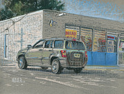 Car Pastels Prints - Day Old Bread Store Print by Donald Maier