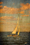 Sailboat Ocean Mixed Media Posters - Day Sail Poster by Michael Petrizzo