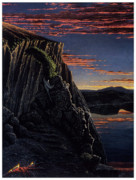 Zeus Pastels Framed Prints - Daybreak at Llao Rock Framed Print by John  Baehr