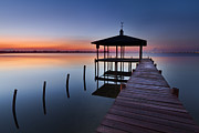 Piers Prints - Daybreak Print by Debra and Dave Vanderlaan