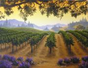 Napa Valley Vineyard Paintings - Daybreak in the Back Country by Patrick ORourke
