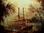 Riverboat Prints - Daybreak on the River Print by Tom Shropshire
