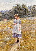 Sun Hat Posters - Daydreamer Poster by Helen Allingham