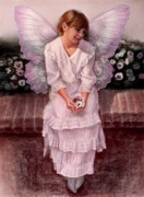 Angel Art Painting Originals - Daydreaming Fairy Girl by Sue Halstenberg