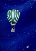 Hot Air Balloon Prints - Daydreaming in a Hot Air Balloon Print by Kerri Ertman