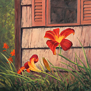 Daylilies At The Shed Print by Elaine Farmer