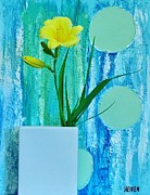 Yellow Background Posters - Daylily During Day Poster by Marsha Heiken