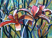 Yellow Line Mixed Media Prints - Daylily Stix Print by Kathy Braud