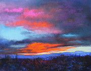 Tucson Arizona Pastels Acrylic Prints - Days End 2 Acrylic Print by M Diane Bonaparte