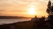 Lighthouse Sunset Posters - Days End at Discovery Lighthouse Poster by Mike Reid
