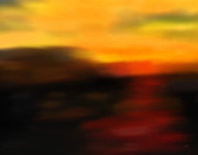 Abstract Art Greeting Cards Prints - Days End Print by Gerlinde Keating - Keating Associates Inc
