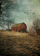 Old Barns Acrylic Prints - Days End Acrylic Print by Maria Aiello